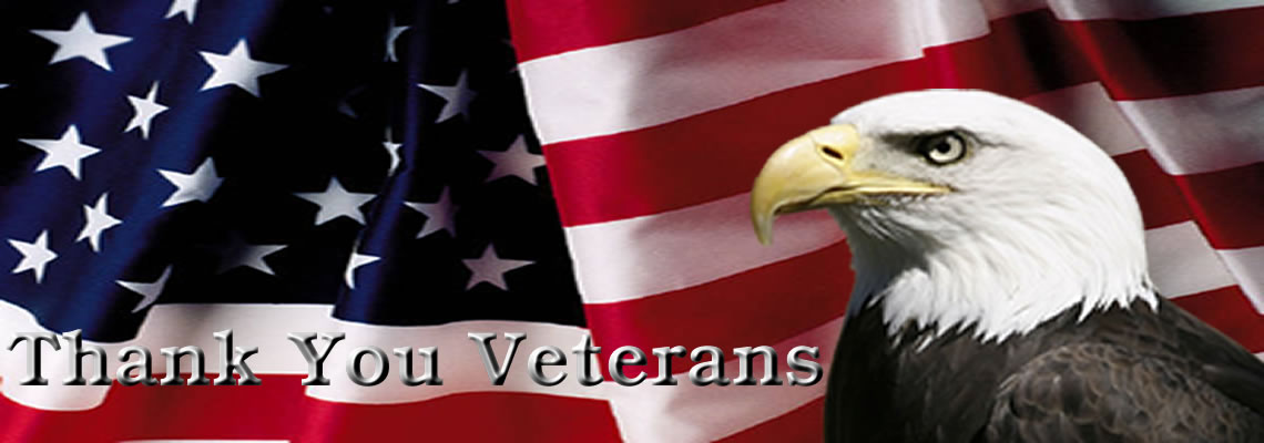 thank You Veterans, Photo of Eagle over the American Flag