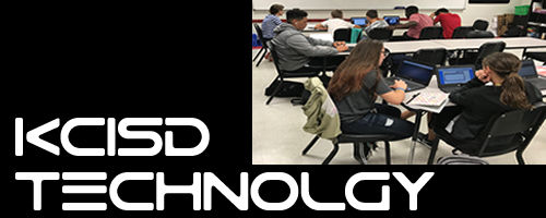 KCISD Technology Header with Students using Tech